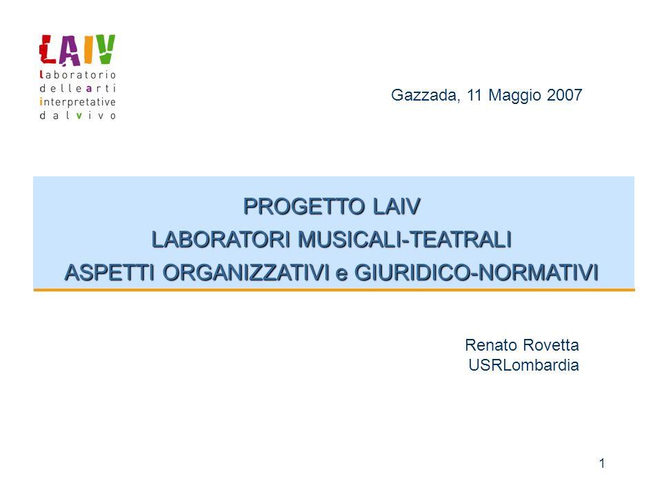 1 PROGETTO LAIV LABORATORI MUSICALI-TEATRALI ASPETTI ORGANIZZATIVI e GIURIDICO-NORMATIVI Gazzada, 11 Maggio 2007 Renato Rovetta USRLombardia