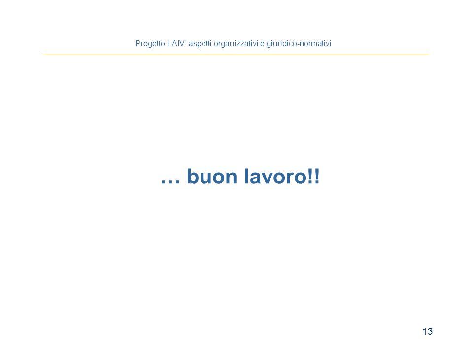 13 Progetto LAIV: aspetti organizzativi e giuridico-normativi … buon lavoro!!