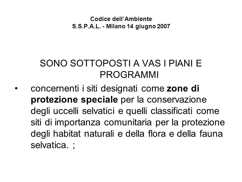 Codice dellAmbiente S.S.P.A.L. - Milano 14 giugno 2007 SONO SOTTOPOSTI A VAS I PIANI E PROGRAMMI concernenti i siti designati come zone di protezione