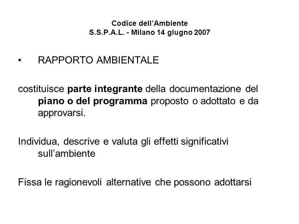 Codice dellAmbiente S.S.P.A.L. - Milano 14 giugno 2007 RAPPORTO AMBIENTALE costituisce parte integrante della documentazione del piano o del programma