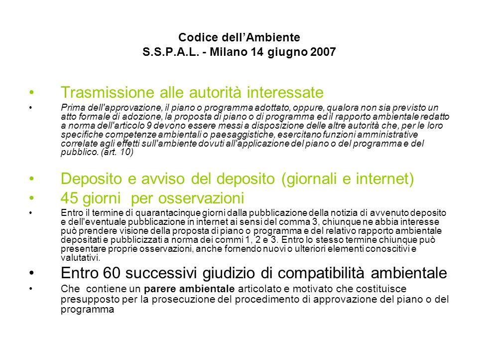 Codice dellAmbiente S.S.P.A.L. - Milano 14 giugno 2007 Trasmissione alle autorità interessate Prima dell'approvazione, il piano o programma adottato,