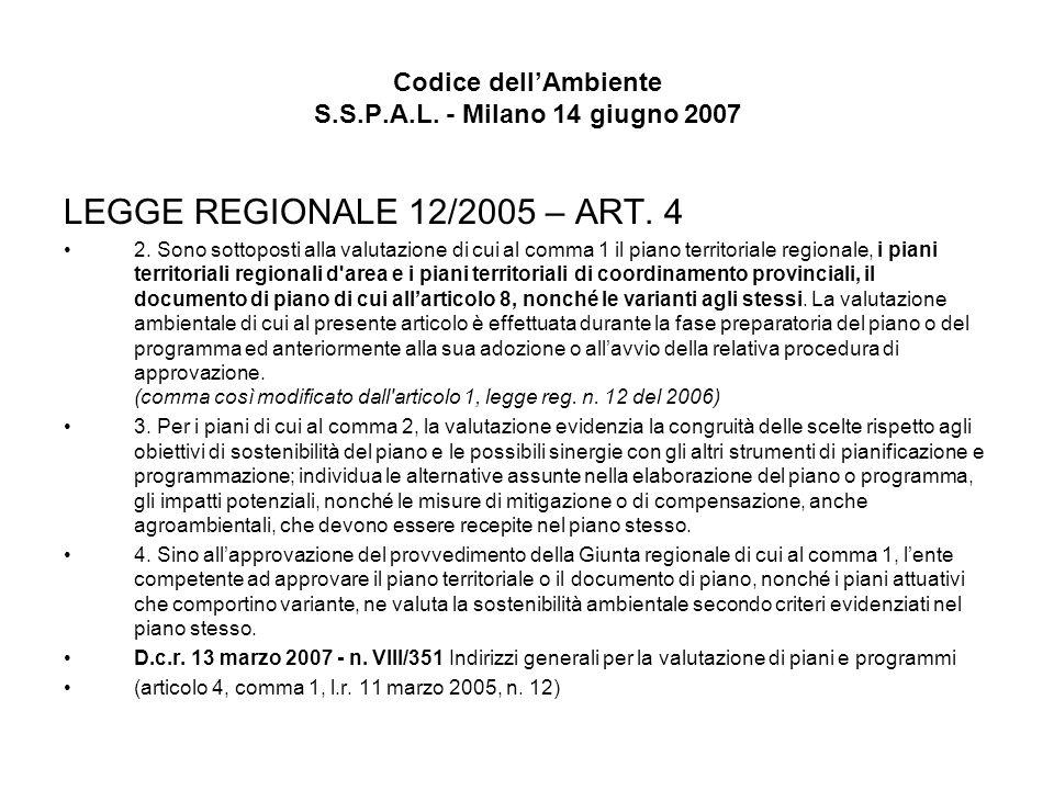 Codice dellAmbiente S.S.P.A.L. - Milano 14 giugno 2007 LEGGE REGIONALE 12/2005 – ART. 4 2. Sono sottoposti alla valutazione di cui al comma 1 il piano