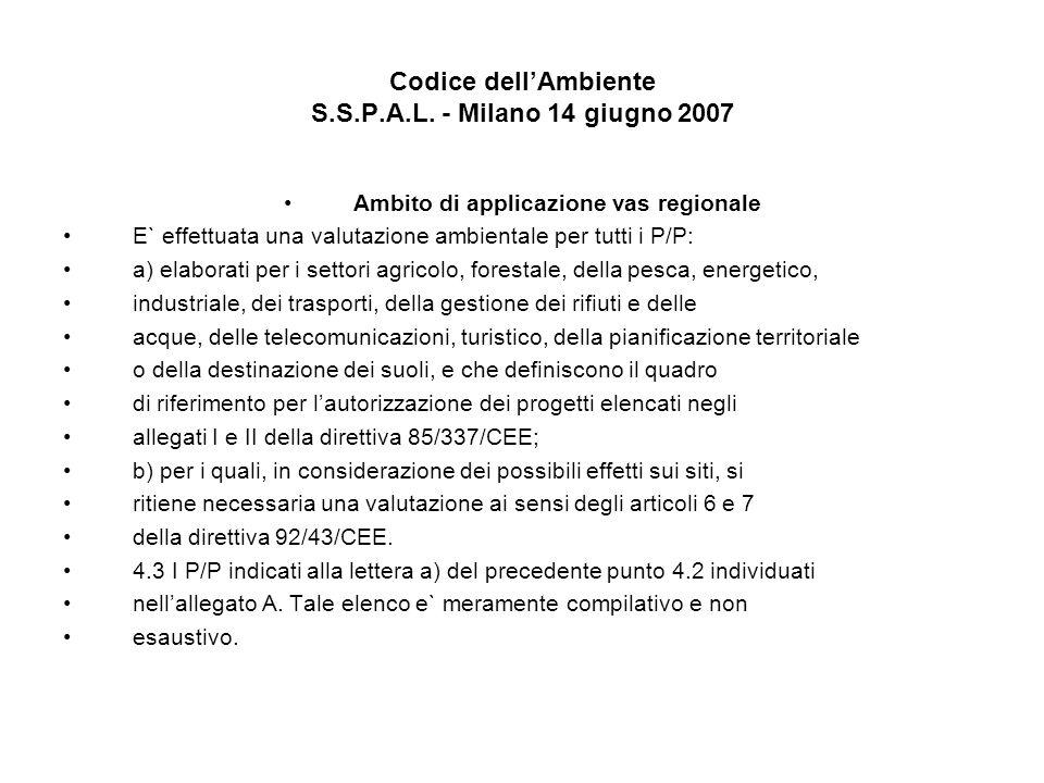 Codice dellAmbiente S.S.P.A.L. - Milano 14 giugno 2007 Ambito di applicazione vas regionale E` effettuata una valutazione ambientale per tutti i P/P: