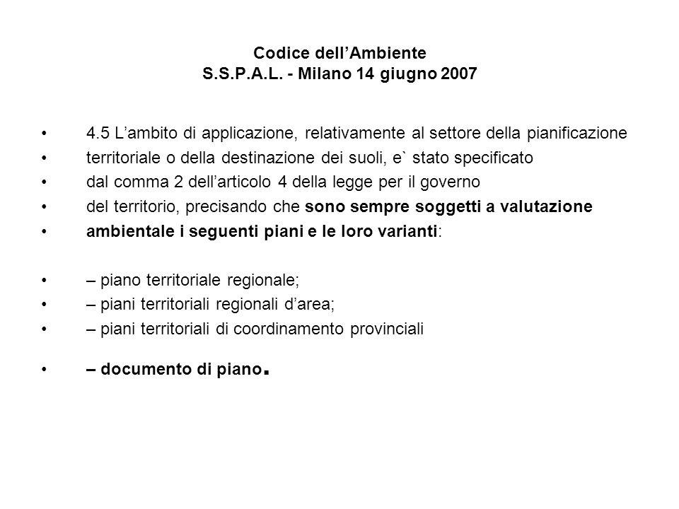 Codice dellAmbiente S.S.P.A.L. - Milano 14 giugno 2007 4.5 Lambito di applicazione, relativamente al settore della pianificazione territoriale o della