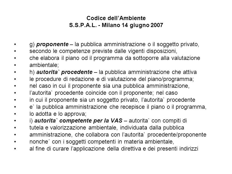 Codice dellAmbiente S.S.P.A.L. - Milano 14 giugno 2007 g) proponente – la pubblica amministrazione o il soggetto privato, secondo le competenze previs
