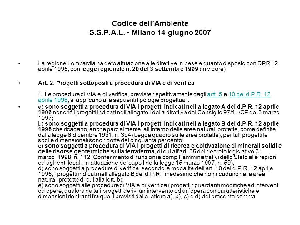 Codice dellAmbiente S.S.P.A.L. - Milano 14 giugno 2007 La regione Lombardia ha dato attuazione alla direttiva in base a quanto disposto con DPR 12 apr