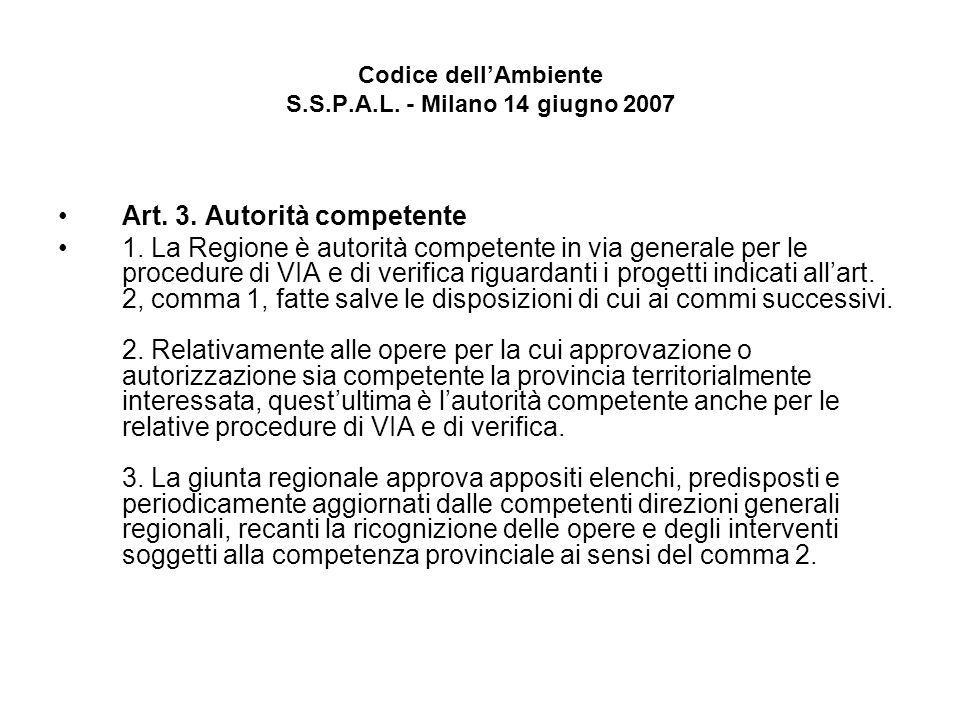 Codice dellAmbiente S.S.P.A.L. - Milano 14 giugno 2007 Art. 3. Autorità competente 1. La Regione è autorità competente in via generale per le procedur