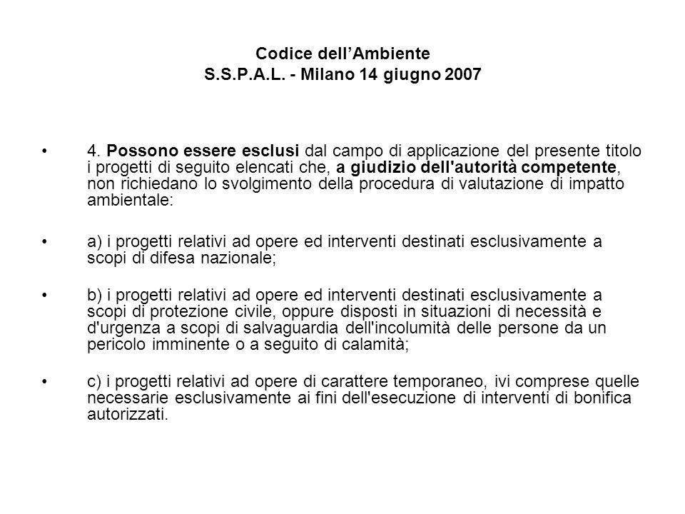 Codice dellAmbiente S.S.P.A.L. - Milano 14 giugno 2007 4. Possono essere esclusi dal campo di applicazione del presente titolo i progetti di seguito e