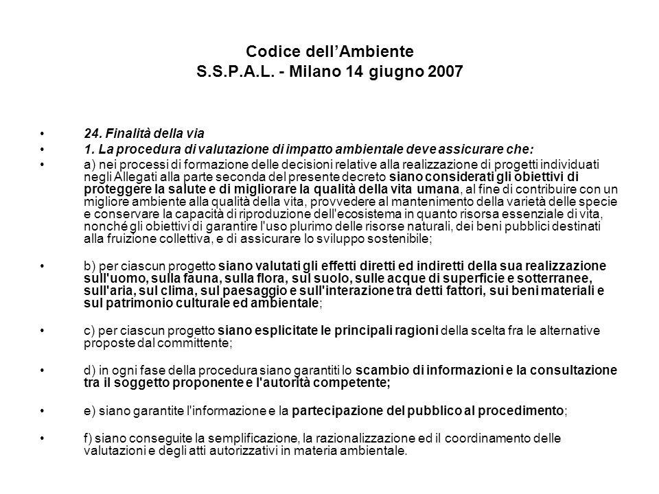 Codice dellAmbiente S.S.P.A.L. - Milano 14 giugno 2007 24. Finalità della via 1. La procedura di valutazione di impatto ambientale deve assicurare che