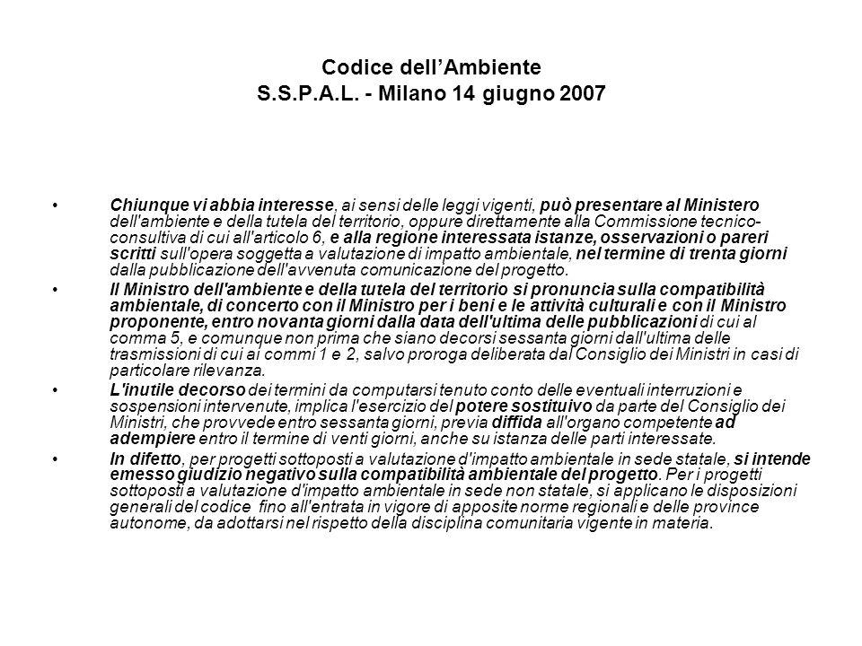Codice dellAmbiente S.S.P.A.L. - Milano 14 giugno 2007 Chiunque vi abbia interesse, ai sensi delle leggi vigenti, può presentare al Ministero dell'amb
