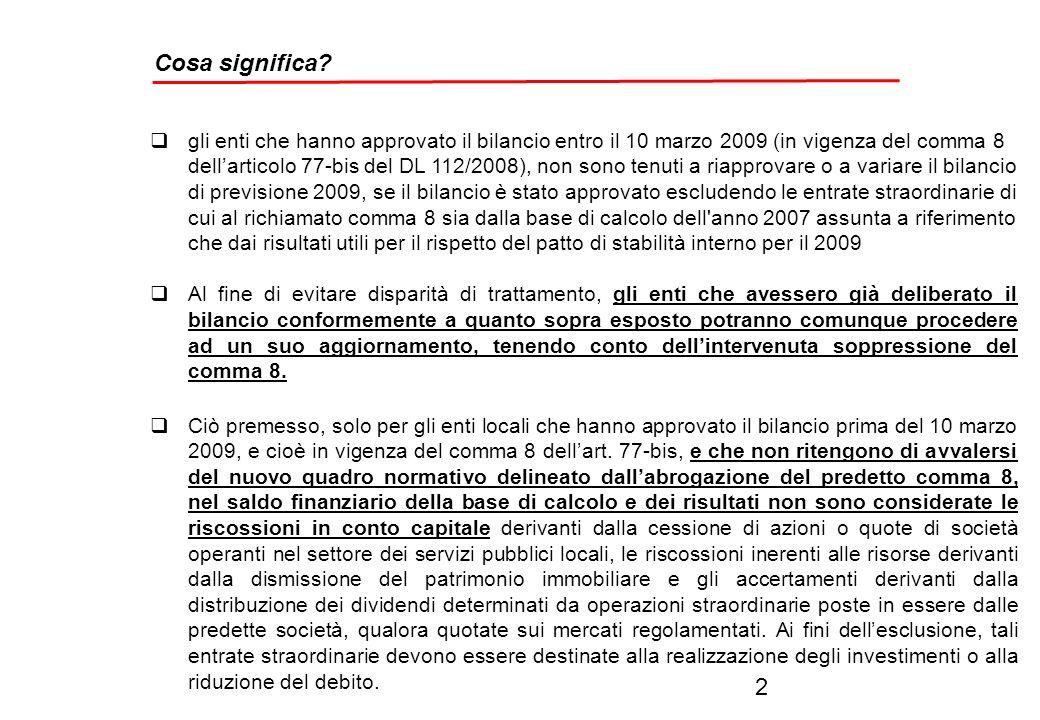 Il patto di stabilità per il triennio 2009 – 2011 le ultime novità Art.