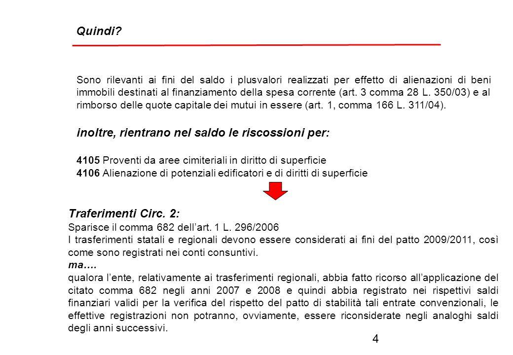 gli enti che hanno approvato il bilancio entro il 10 marzo 2009 (in vigenza del comma 8 dellarticolo 77-bis del DL 112/2008), NON CONSIDERANO SIA NEL SALDO FINANZIARIO 2007 ASSUNTO A RIFERIMENTO CHE DAI RISULTATI UTILI PER IL RISPETTO DEL PATTO 2009 Come può essere superato lo scoglio.