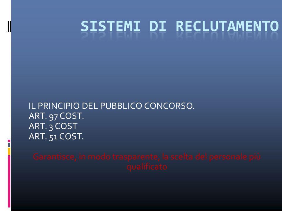 IL PRINCIPIO DEL PUBBLICO CONCORSO. ART. 97 COST. ART. 3 COST ART. 51 COST. Garantisce, in modo trasparente, la scelta del personale più qualificato