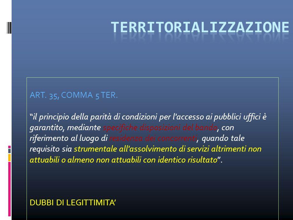 ART. 35, COMMA 5 TER. il principio della parità di condizioni per l'accesso ai pubblici uffici è garantito, mediante specifiche disposizioni del bando