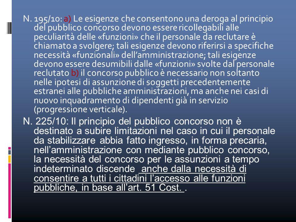 N. 195/10: a) Le esigenze che consentono una deroga al principio del pubblico concorso devono essere ricollegabili alle peculiarità delle «funzioni» c