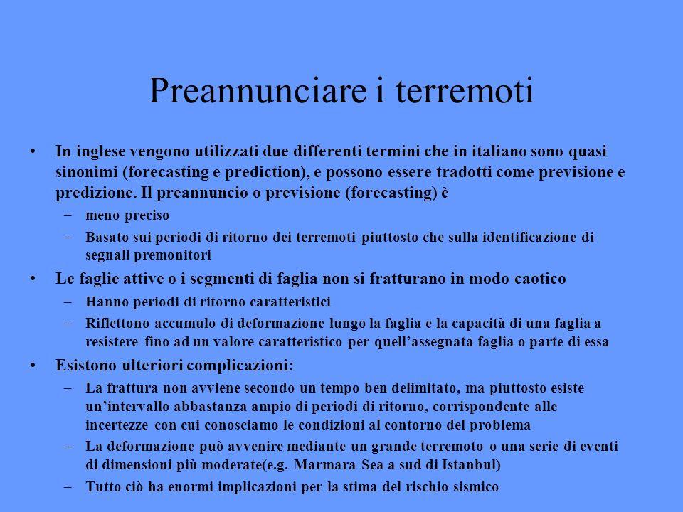 Preannunciare i terremoti In inglese vengono utilizzati due differenti termini che in italiano sono quasi sinonimi (forecasting e prediction), e posso