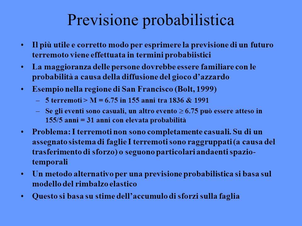 Previsione probabilistica Il più utile e corretto modo per esprimere la previsione di un futuro terremoto viene effettuata in termini probabiistici La