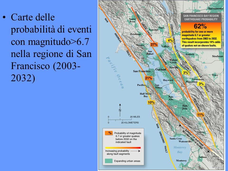 Cart Carte delle probabilità di eventi con magnitudo>6.7 nella regione di San Francisco (2003- 2032)