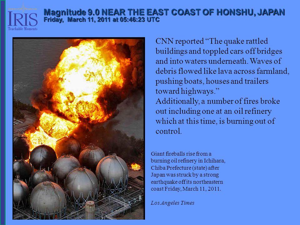 This earthquake occurred 130 km (80 miles) east of Sendai, Honshu, Japan and 373 km (231 miles) northeast of Tokyo, Japan.