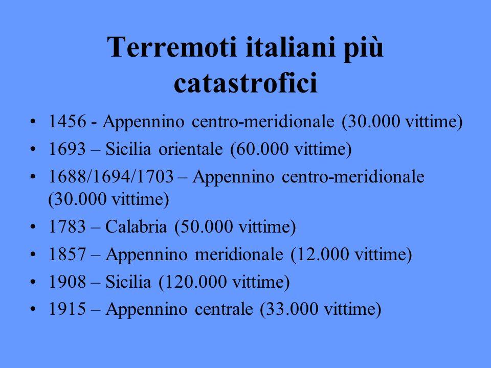 Terremoti italiani più catastrofici 1456 - Appennino centro-meridionale (30.000 vittime) 1693 – Sicilia orientale (60.000 vittime) 1688/1694/1703 – Ap