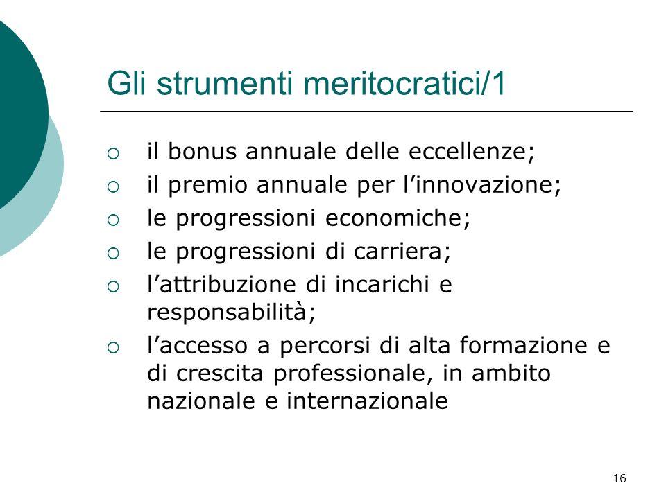 16 Gli strumenti meritocratici/1 il bonus annuale delle eccellenze; il premio annuale per linnovazione; le progressioni economiche; le progressioni di