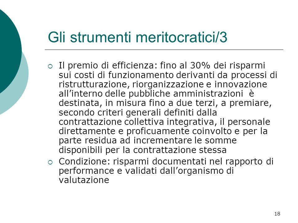18 Gli strumenti meritocratici/3 Il premio di efficienza: fino al 30% dei risparmi sui costi di funzionamento derivanti da processi di ristrutturazion