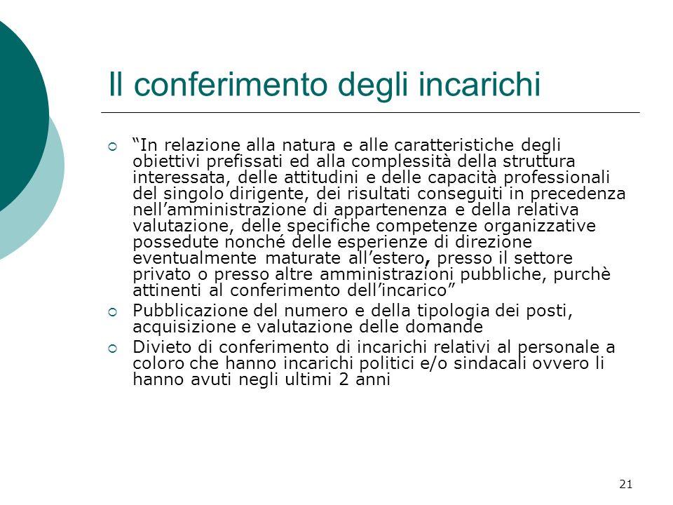 21 Il conferimento degli incarichi In relazione alla natura e alle caratteristiche degli obiettivi prefissati ed alla complessità della struttura inte