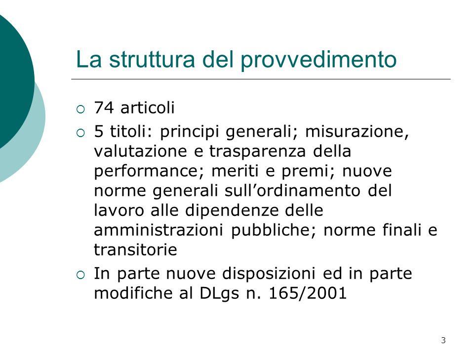 3 La struttura del provvedimento 74 articoli 5 titoli: principi generali; misurazione, valutazione e trasparenza della performance; meriti e premi; nu