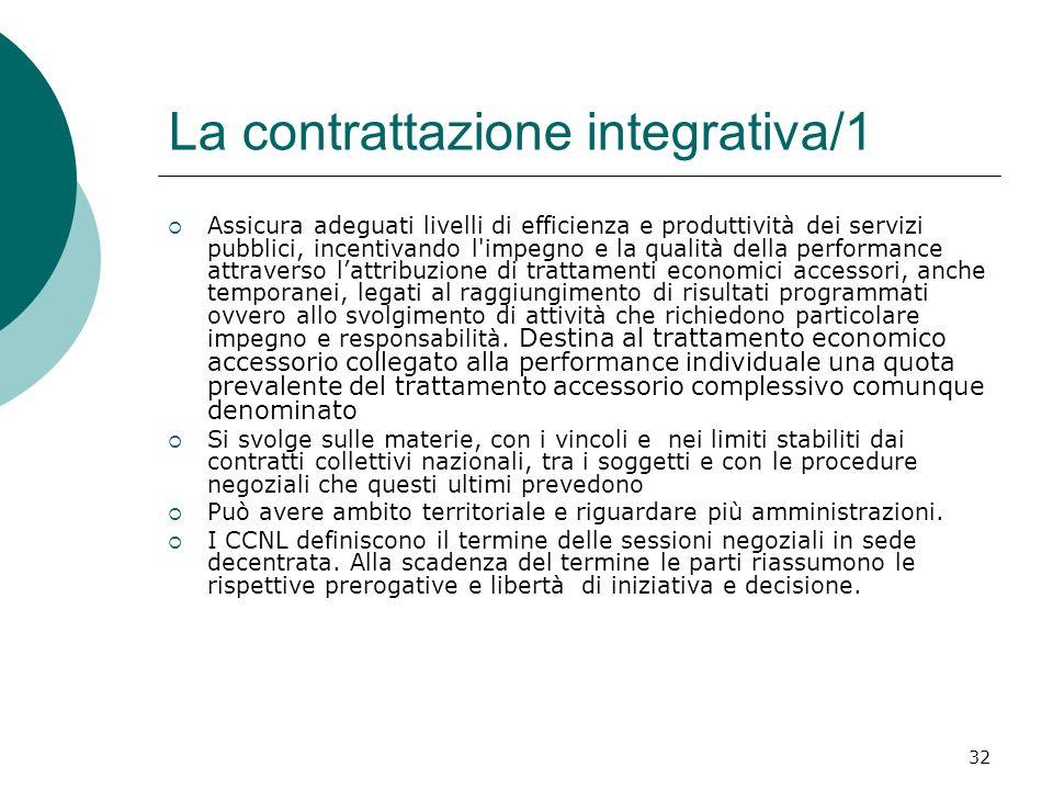 32 La contrattazione integrativa/1 Assicura adeguati livelli di efficienza e produttività dei servizi pubblici, incentivando l'impegno e la qualità de