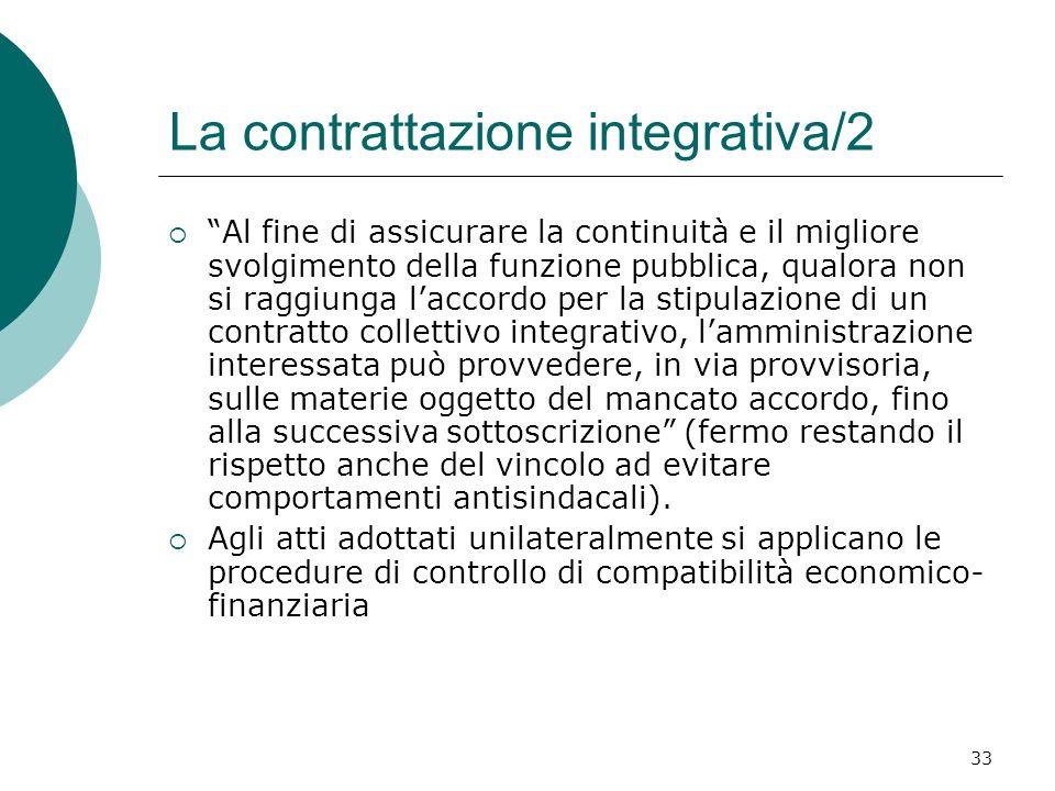33 La contrattazione integrativa/2 Al fine di assicurare la continuità e il migliore svolgimento della funzione pubblica, qualora non si raggiunga lac