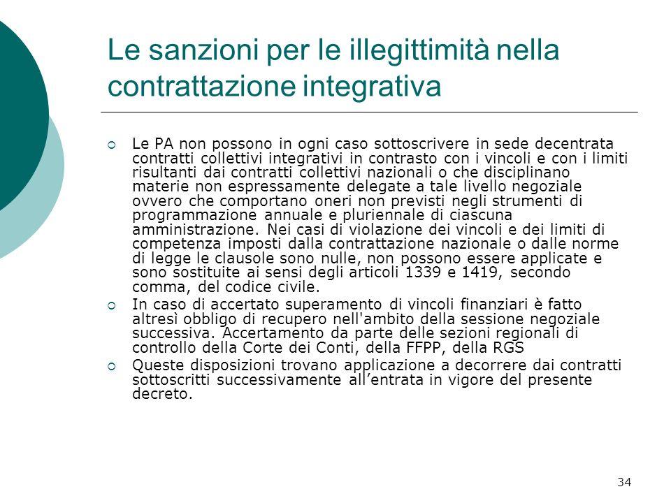 34 Le sanzioni per le illegittimità nella contrattazione integrativa Le PA non possono in ogni caso sottoscrivere in sede decentrata contratti collett