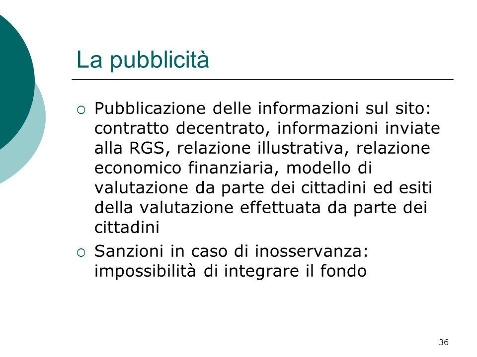 36 La pubblicità Pubblicazione delle informazioni sul sito: contratto decentrato, informazioni inviate alla RGS, relazione illustrativa, relazione eco