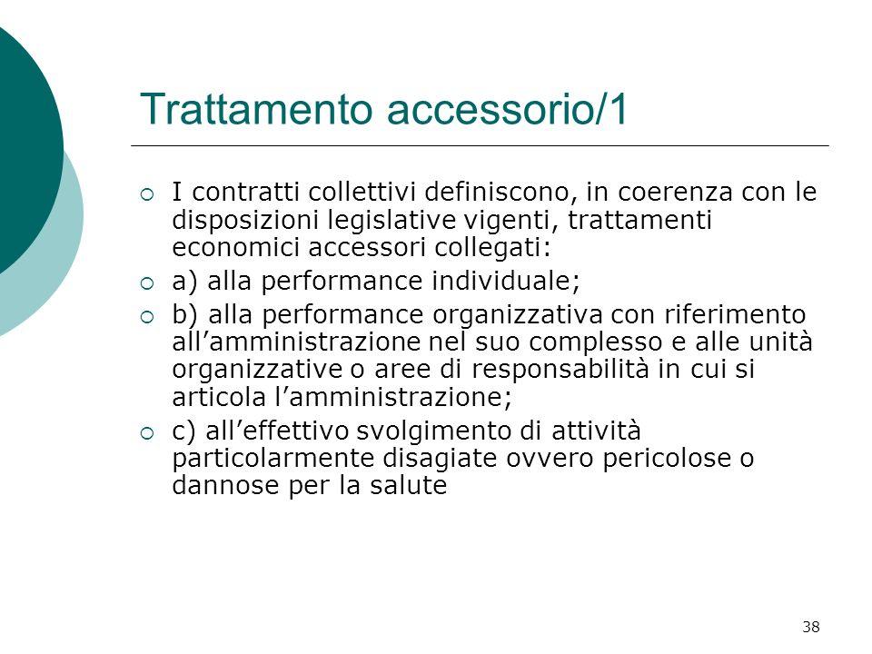38 Trattamento accessorio/1 I contratti collettivi definiscono, in coerenza con le disposizioni legislative vigenti, trattamenti economici accessori c