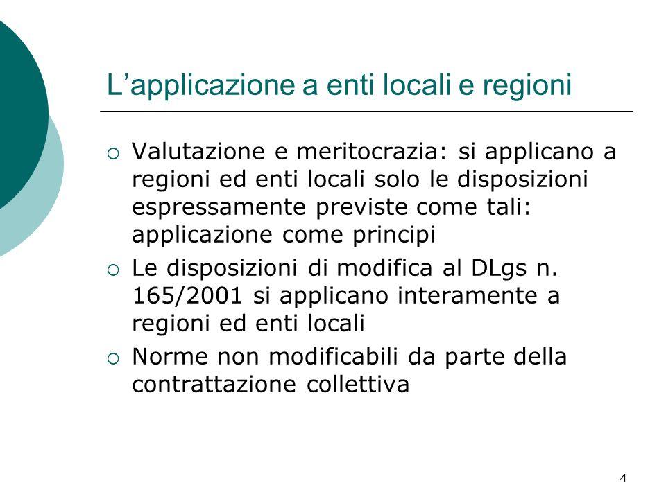 4 Lapplicazione a enti locali e regioni Valutazione e meritocrazia: si applicano a regioni ed enti locali solo le disposizioni espressamente previste