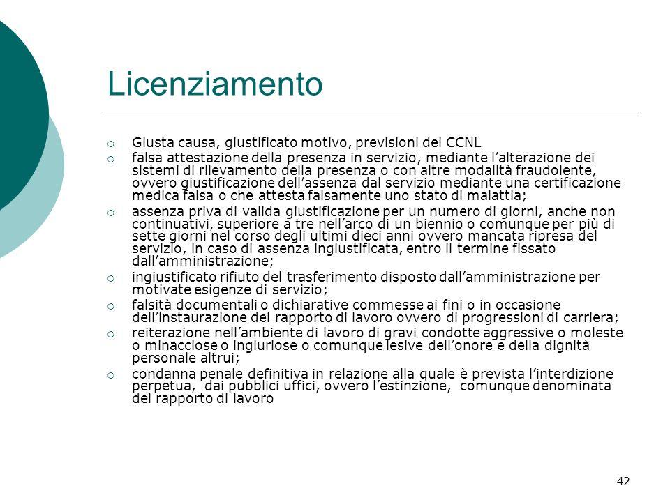 42 Licenziamento Giusta causa, giustificato motivo, previsioni dei CCNL falsa attestazione della presenza in servizio, mediante lalterazione dei siste