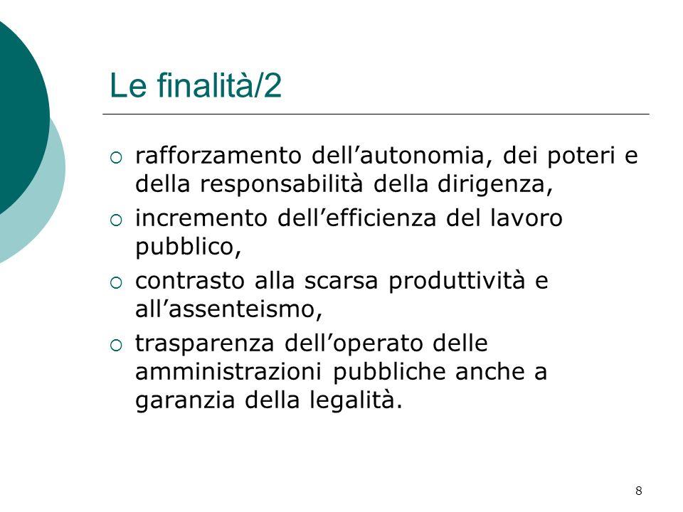 8 Le finalità/2 rafforzamento dellautonomia, dei poteri e della responsabilità della dirigenza, incremento dellefficienza del lavoro pubblico, contras