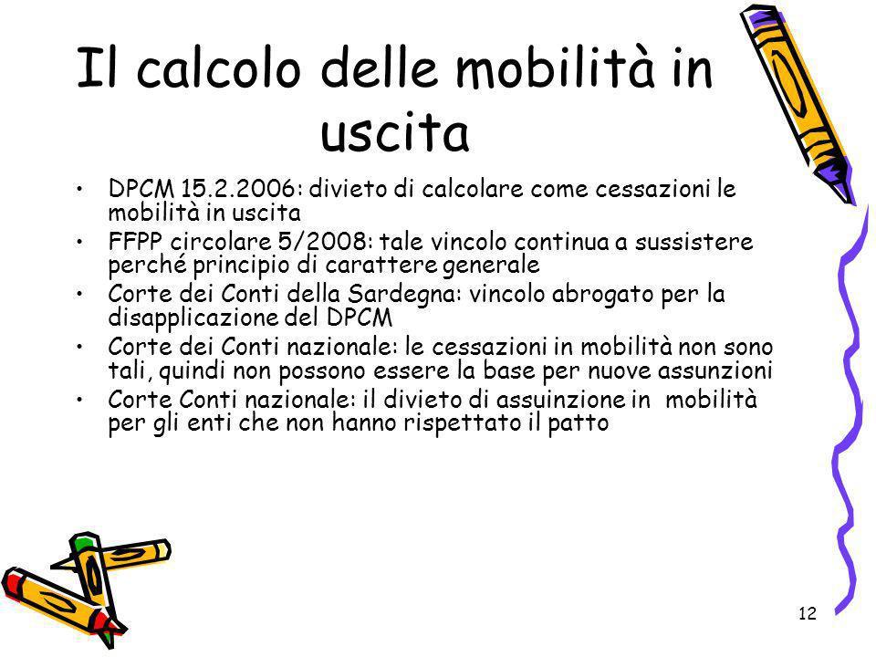 12 Il calcolo delle mobilità in uscita DPCM 15.2.2006: divieto di calcolare come cessazioni le mobilità in uscita FFPP circolare 5/2008: tale vincolo