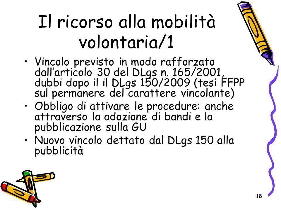 18 Il ricorso alla mobilità volontaria/1 Vincolo previsto in modo rafforzato dallarticolo 30 del DLgs n. 165/2001, dubbi dopo il il DLgs 150/2009 (tes