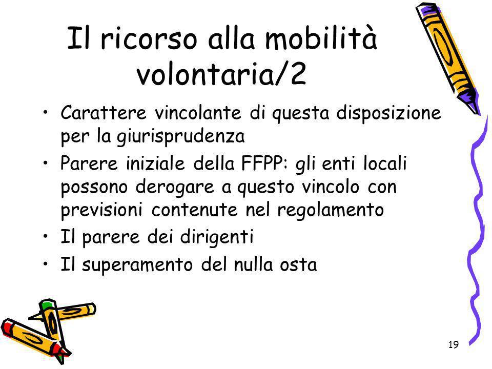 19 Il ricorso alla mobilità volontaria/2 Carattere vincolante di questa disposizione per la giurisprudenza Parere iniziale della FFPP: gli enti locali