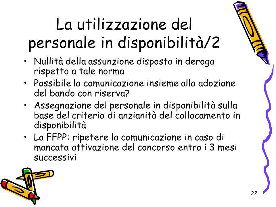 22 La utilizzazione del personale in disponibilità/2 Nullità della assunzione disposta in deroga rispetto a tale norma Possibile la comunicazione insi