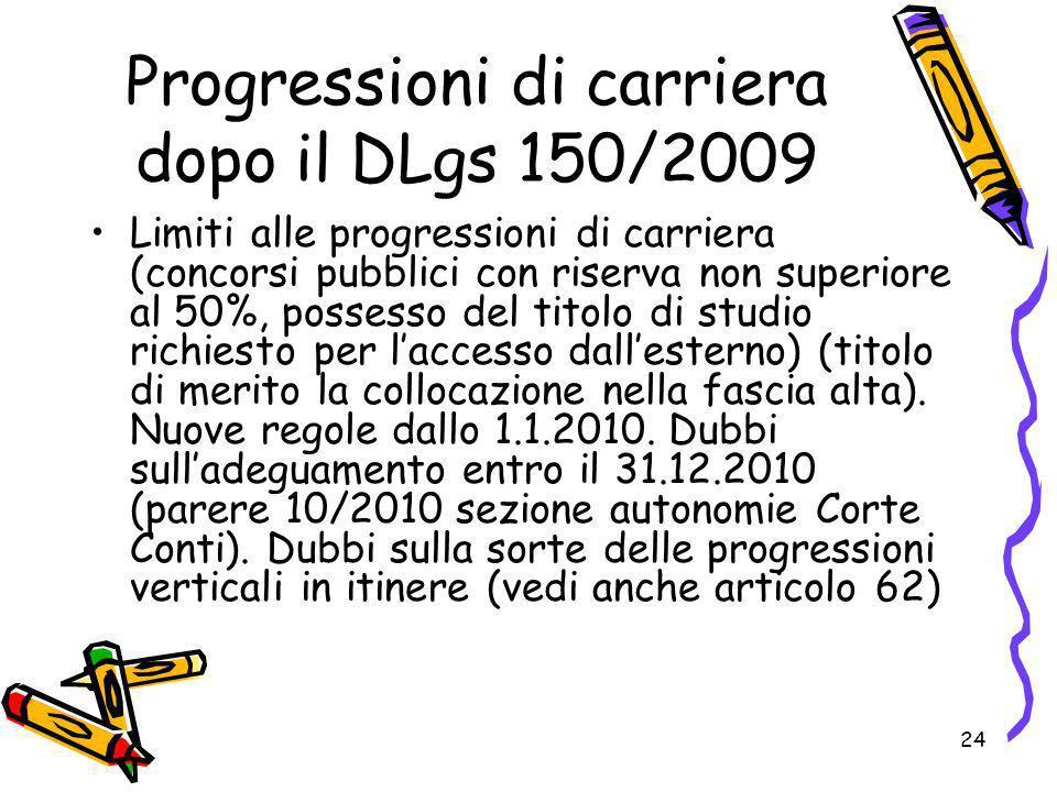24 Progressioni di carriera dopo il DLgs 150/2009 Limiti alle progressioni di carriera (concorsi pubblici con riserva non superiore al 50%, possesso d