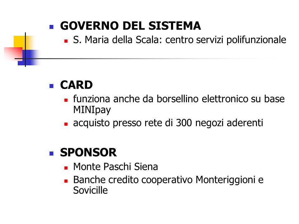 GOVERNO DEL SISTEMA S. Maria della Scala: centro servizi polifunzionale CARD funziona anche da borsellino elettronico su base MINIpay acquisto presso
