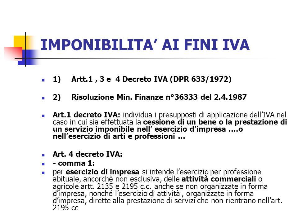 IMPONIBILITA AI FINI IVA 1)Artt.1, 3 e 4 Decreto IVA (DPR 633/1972) 2)Risoluzione Min.