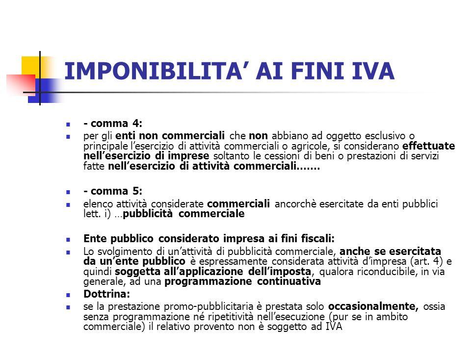 IMPONIBILITA AI FINI IVA - comma 4: per gli enti non commerciali che non abbiano ad oggetto esclusivo o principale lesercizio di attività commerciali