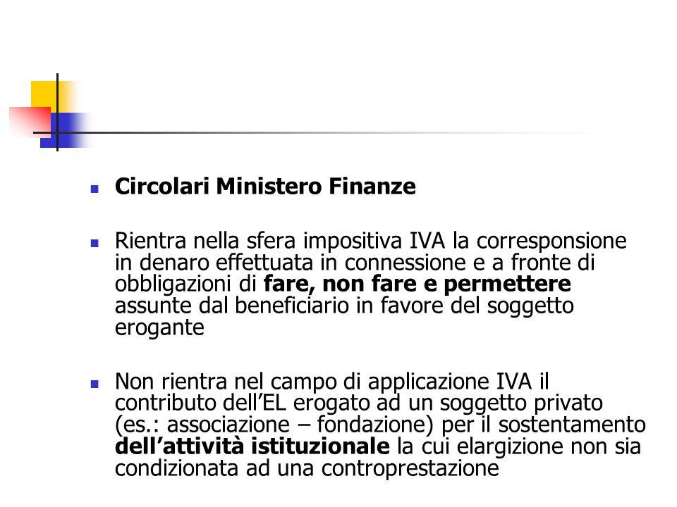 Circolari Ministero Finanze Rientra nella sfera impositiva IVA la corresponsione in denaro effettuata in connessione e a fronte di obbligazioni di far