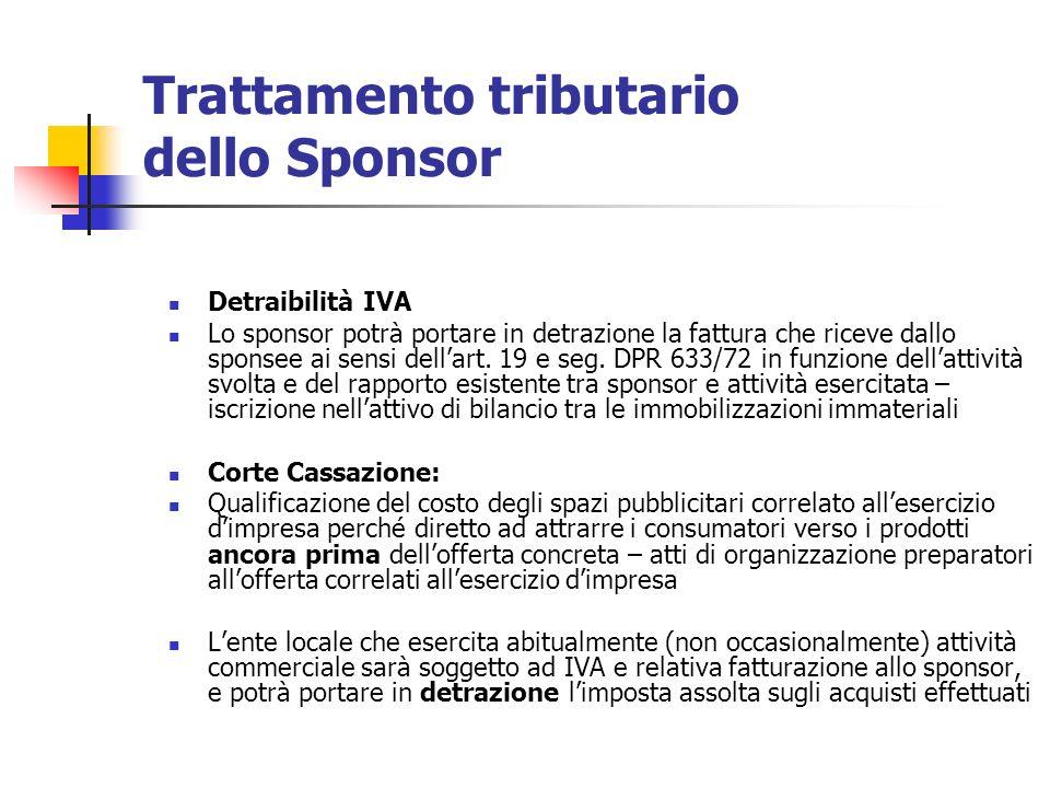 Trattamento tributario dello Sponsor Detraibilità IVA Lo sponsor potrà portare in detrazione la fattura che riceve dallo sponsee ai sensi dellart. 19