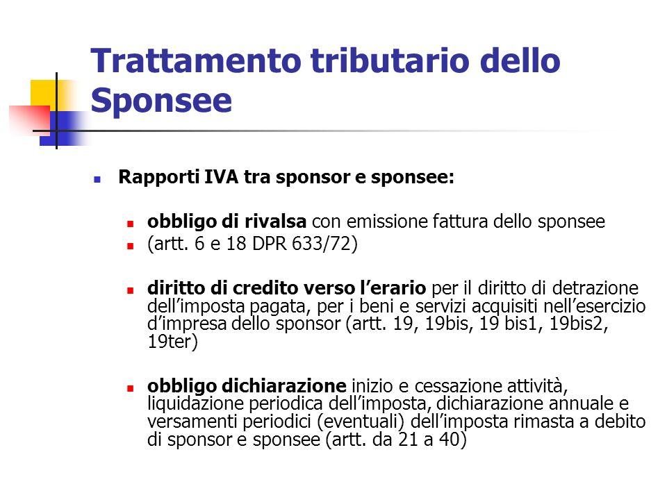 Trattamento tributario dello Sponsee Rapporti IVA tra sponsor e sponsee: obbligo di rivalsa con emissione fattura dello sponsee (artt. 6 e 18 DPR 633/
