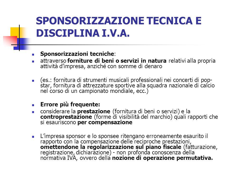 SPONSORIZZAZIONE TECNICA E DISCIPLINA I.V.A. Sponsorizzazioni tecniche: attraverso forniture di beni o servizi in natura relativi alla propria attivit