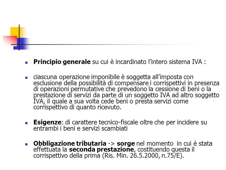 Principio generale su cui è incardinato lintero sistema IVA : ciascuna operazione imponibile è soggetta allimposta con esclusione della possibilità di