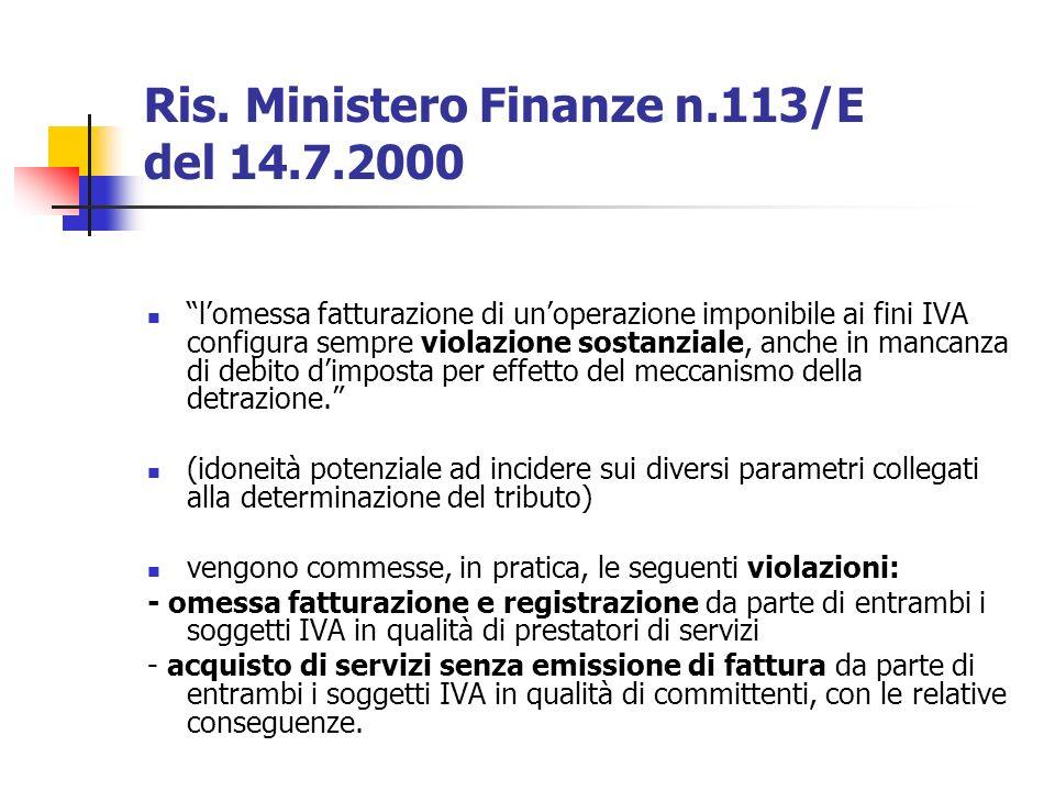 Ris. Ministero Finanze n.113/E del 14.7.2000 lomessa fatturazione di unoperazione imponibile ai fini IVA configura sempre violazione sostanziale, anch